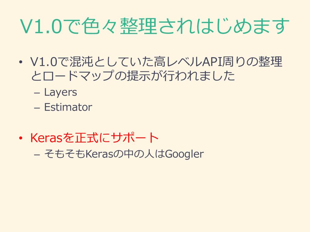 V1.0で⾊色々整理理されはじめます • V1.0で混沌としていた⾼高レベルAPI周りの整理理...