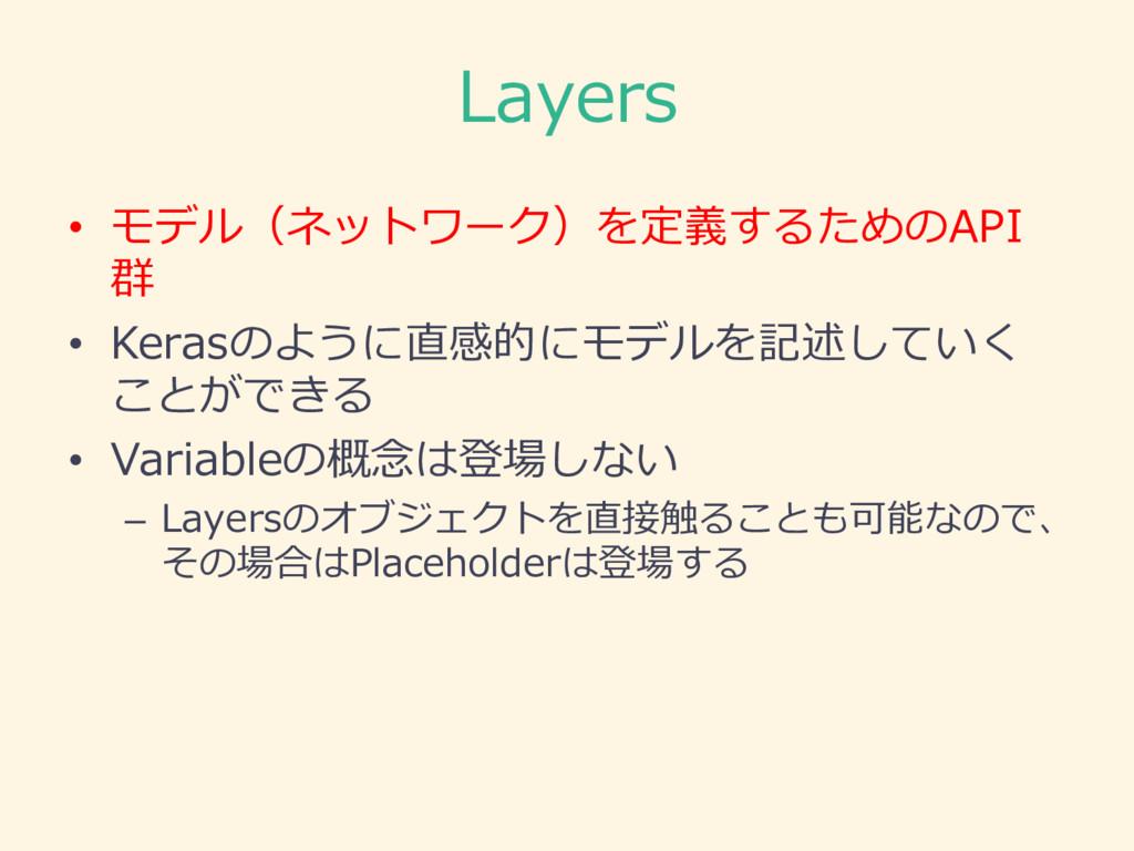 Layers • モデル(ネットワーク)を定義するためのAPI 群 • Kerasのように直感...