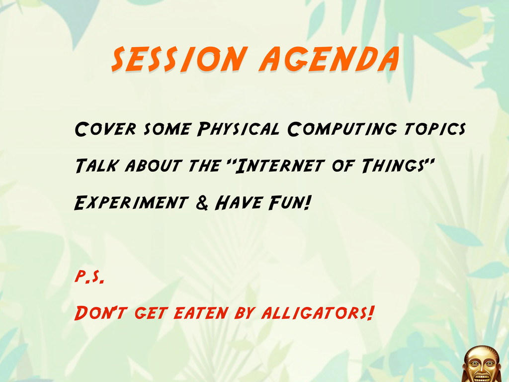 session agenda Cover some Physical Computing to...