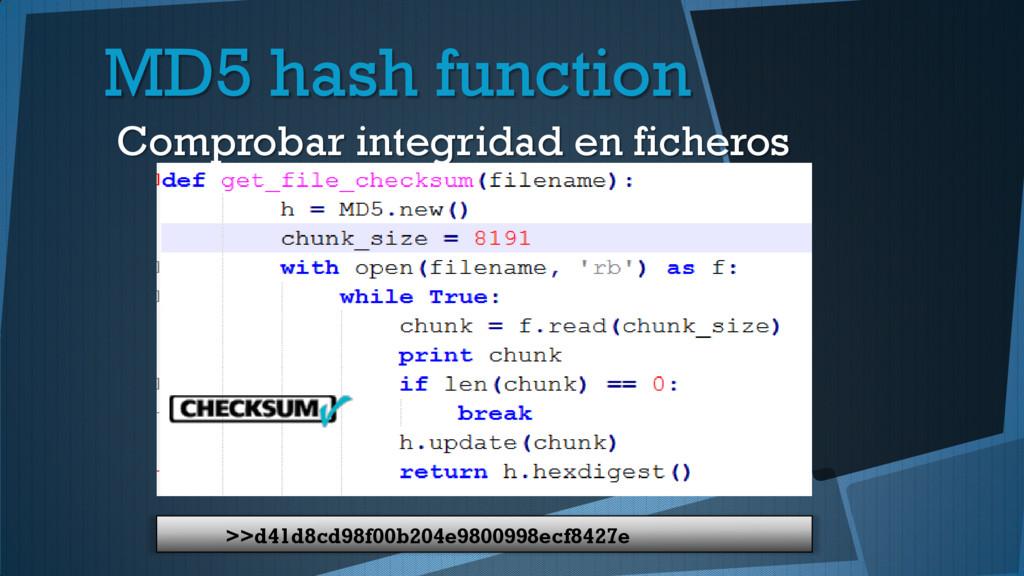 MD5 hash function Comprobar integridad en fiche...