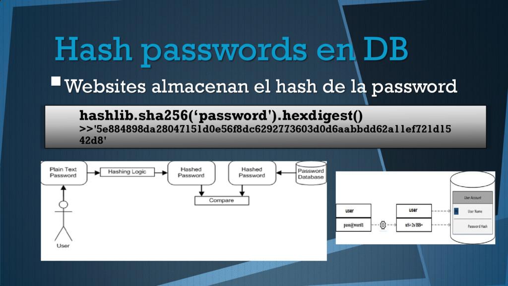 Hash passwords en DB Websites almacenan el has...
