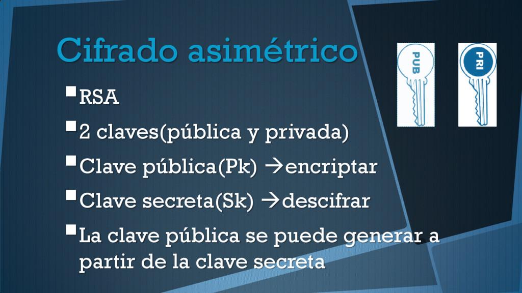 Cifrado asimétrico RSA 2 claves(pública y pri...