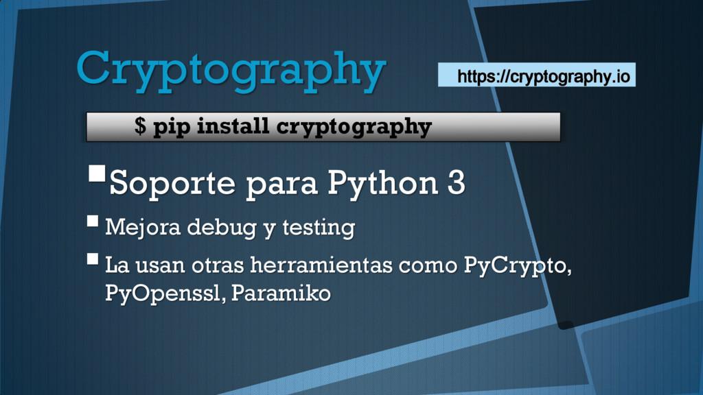 Cryptography Soporte para Python 3 Mejora deb...