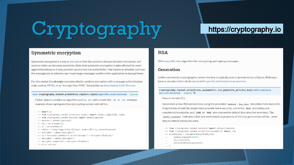 Cryptography https://cryptography.io