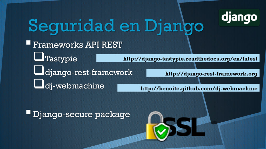 Frameworks API REST Tastypie django-rest-fra...
