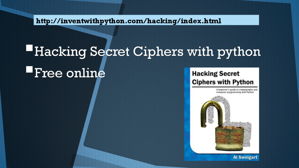Hacking Secret Ciphers with python Free onlin...