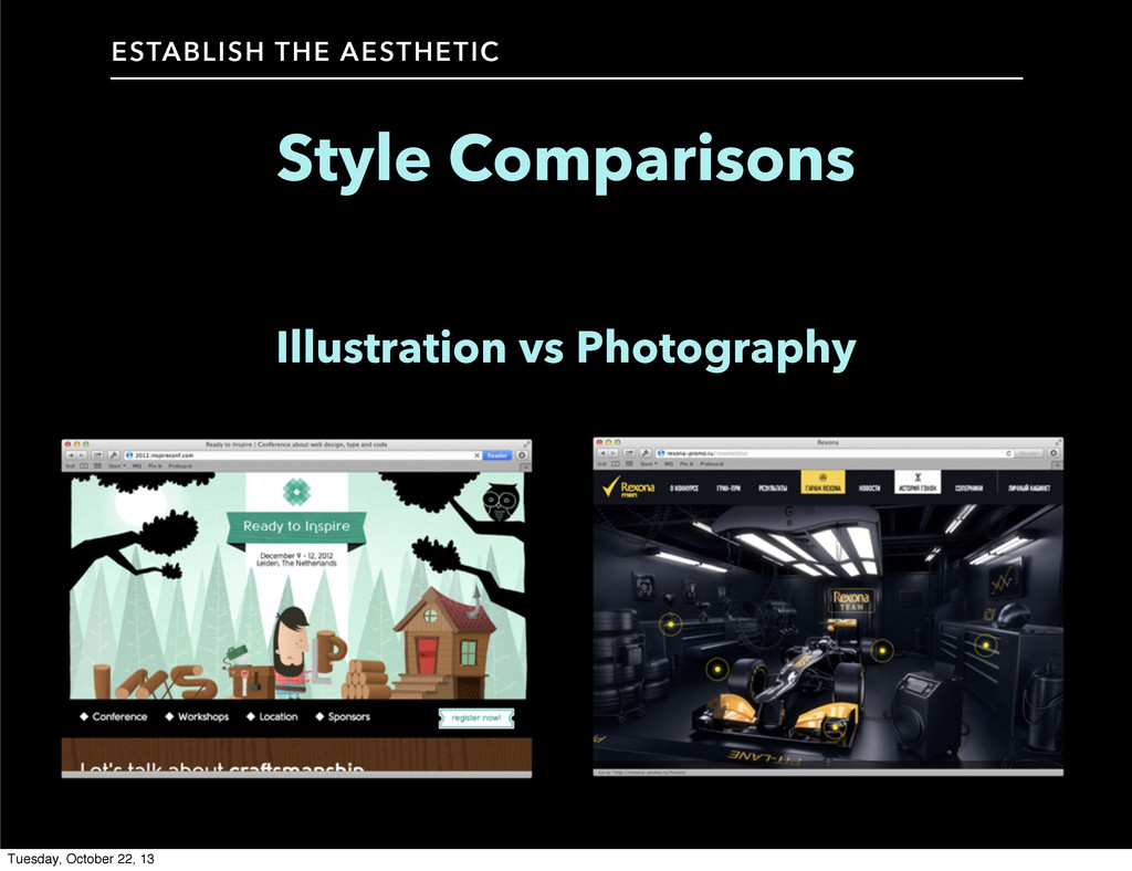 Style Comparisons ESTABLISH THE AESTHETIC Illus...