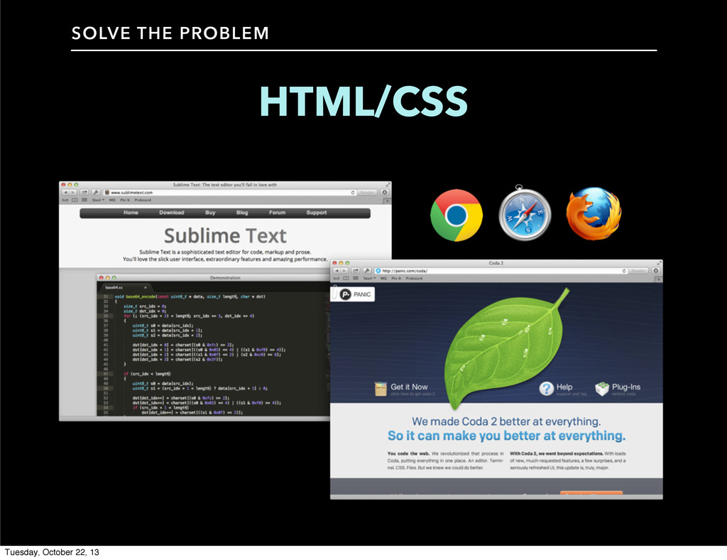 HTML/CSS SOLVE THE PROBLEM Tuesday, October 22,...
