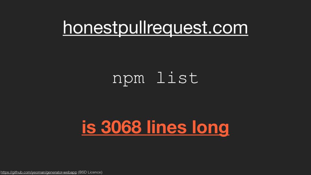 honestpullrequest.com is 3068 lines long npm li...