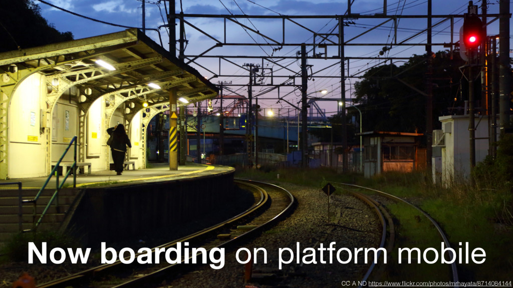 Now boarding on platform mobile CC A ND https:/...