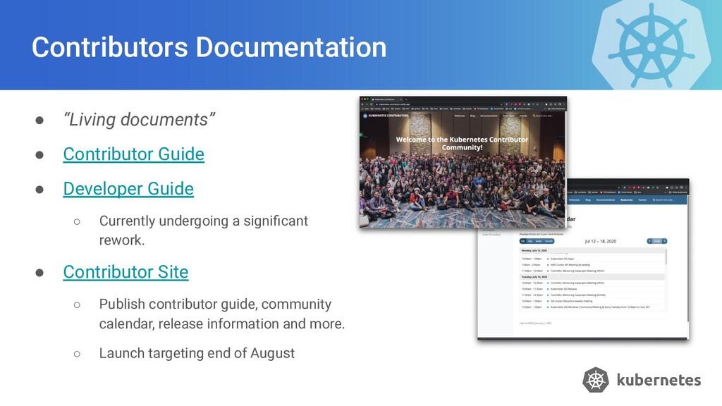 "Contributors Documentation ● ""Living documents""..."