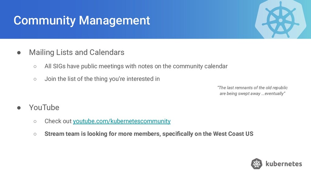 Community Management ● Mailing Lists and Calend...
