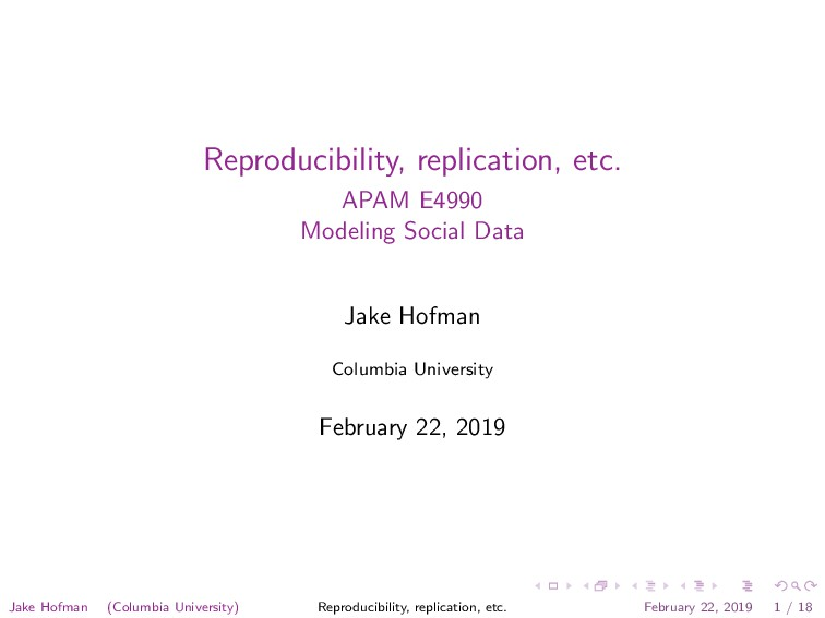 Reproducibility, replication, etc. APAM E4990 M...