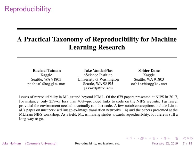 Reproducibility A Practical Taxonomy of Reprodu...