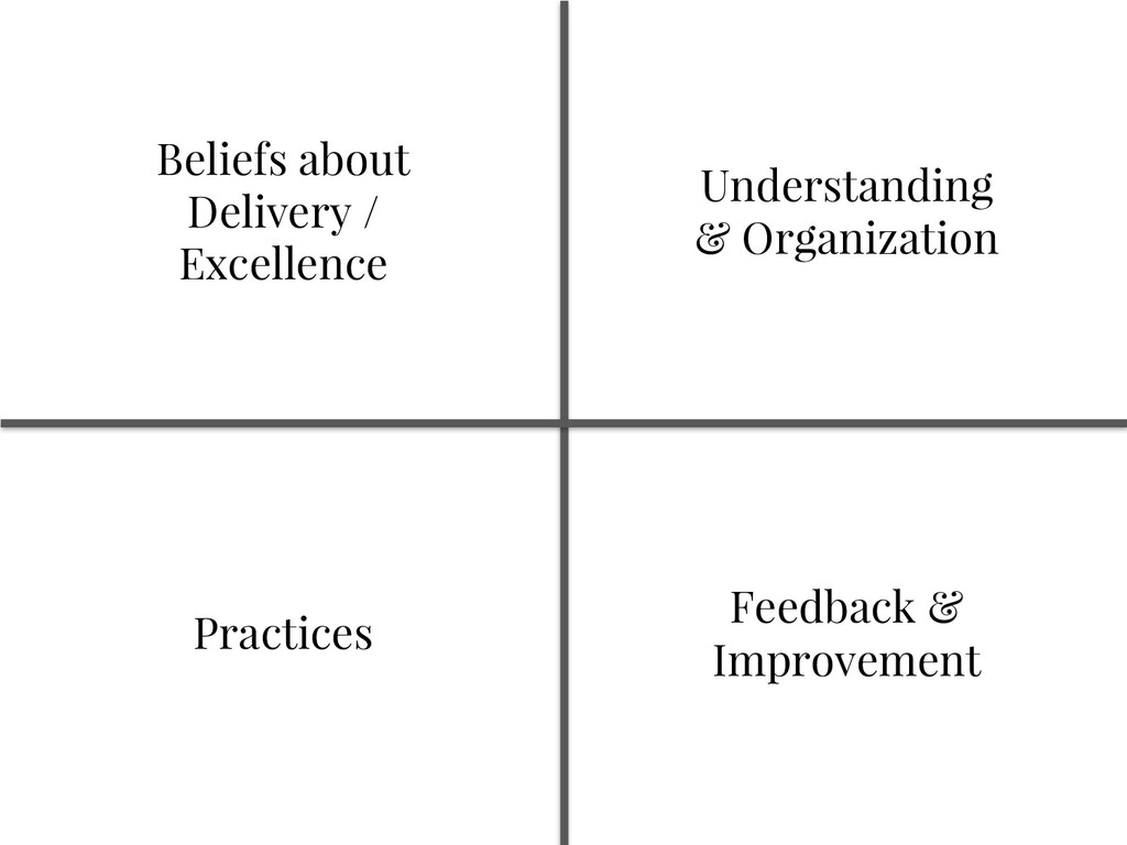 Beliefs about Delivery / Excellence Practices U...
