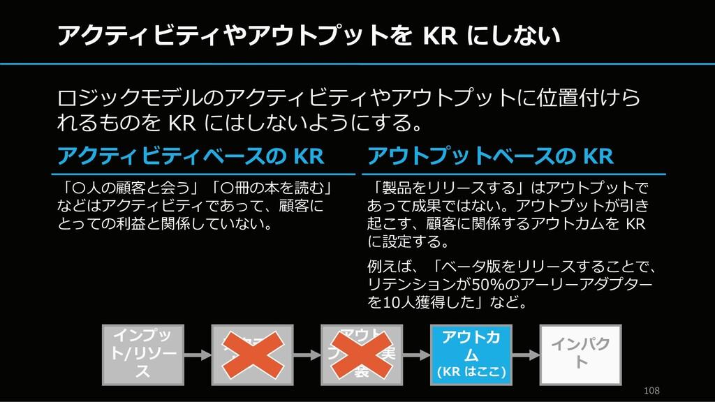 アクティビティやアウトプットを KR にしない ロジックモデルのアクティビティやアウトプットに...