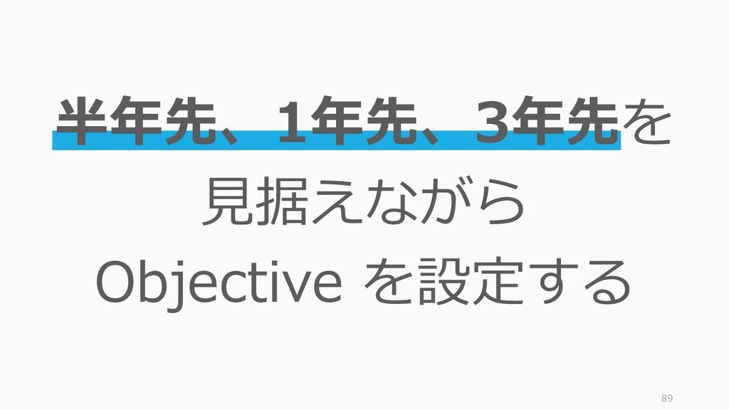89 半年先、1年先、3年先を 見据えながら Objective を設定する