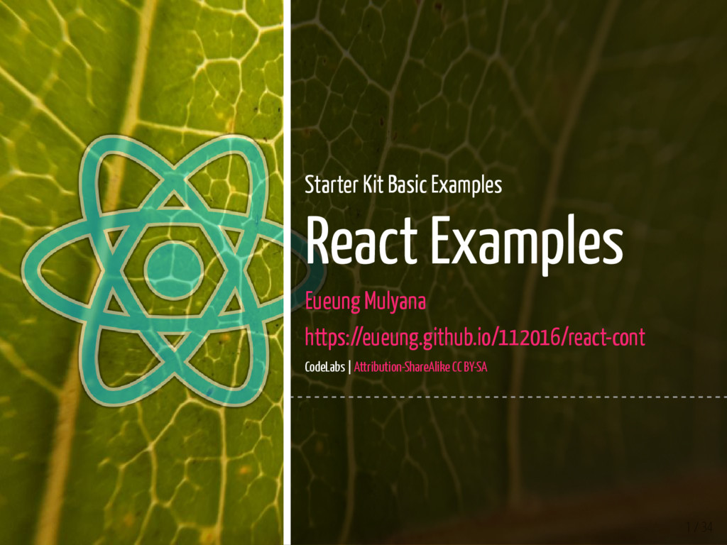 1 / 34 Starter Kit Basic Examples React Example...