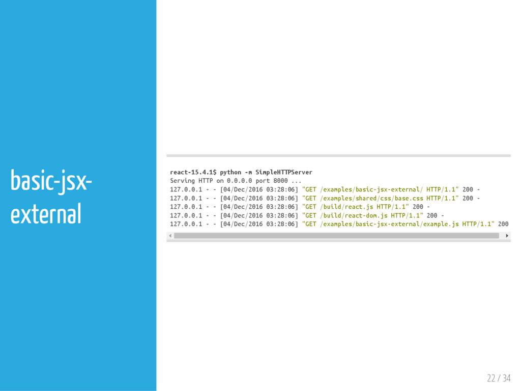 22 / 34 basic-jsx- external r e a c t - 1 5 . 4...