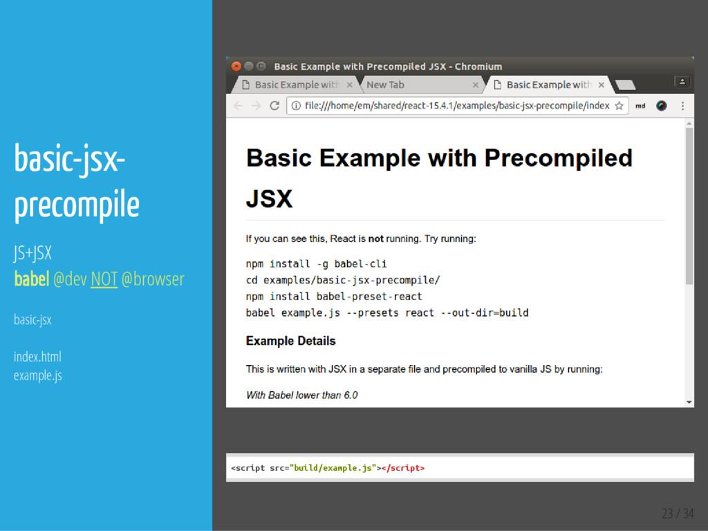 23 / 34 basic-jsx- precompile JS+JSX babel @dev...