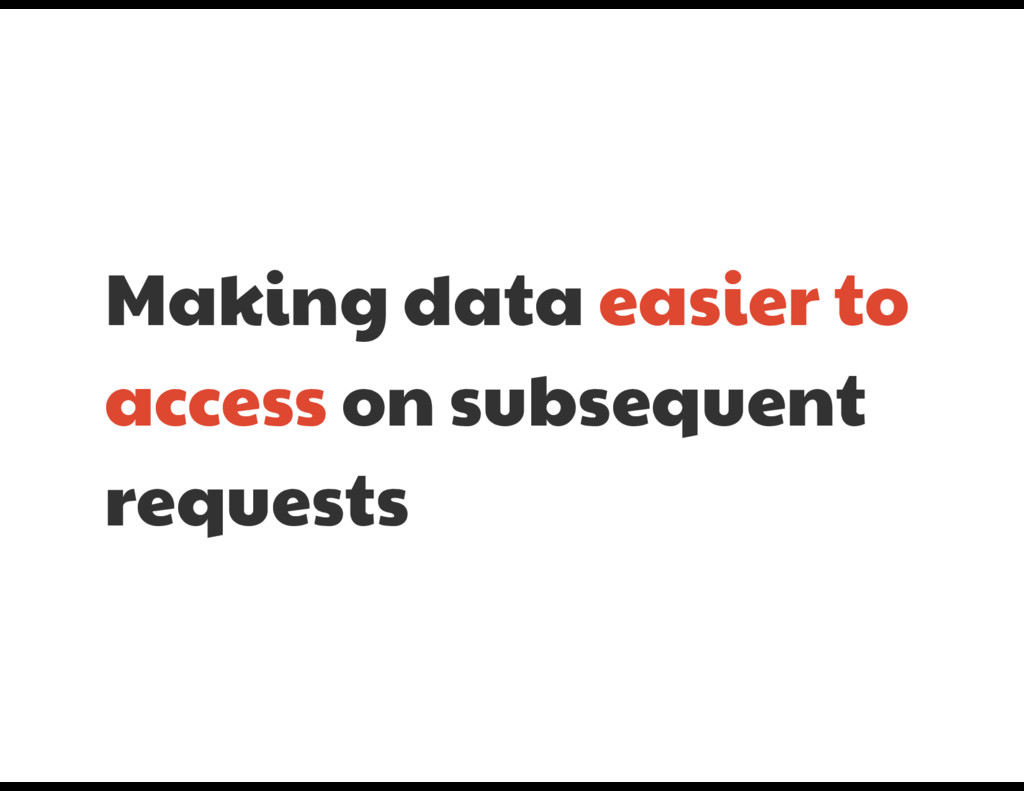 Making data easier to access on subsequent  req...