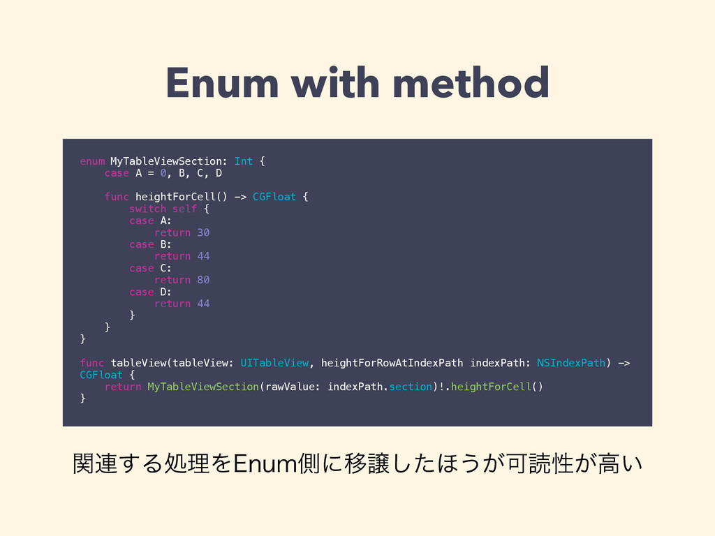 Enum with method enum MyTableViewSection: Int {...