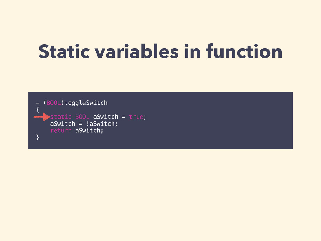 Static variables in function - (BOOL)toggleSwit...
