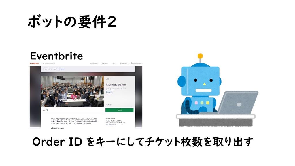 ボットの要件2 Eventbrite Order ID をキーにしてチケット枚数を取り出す
