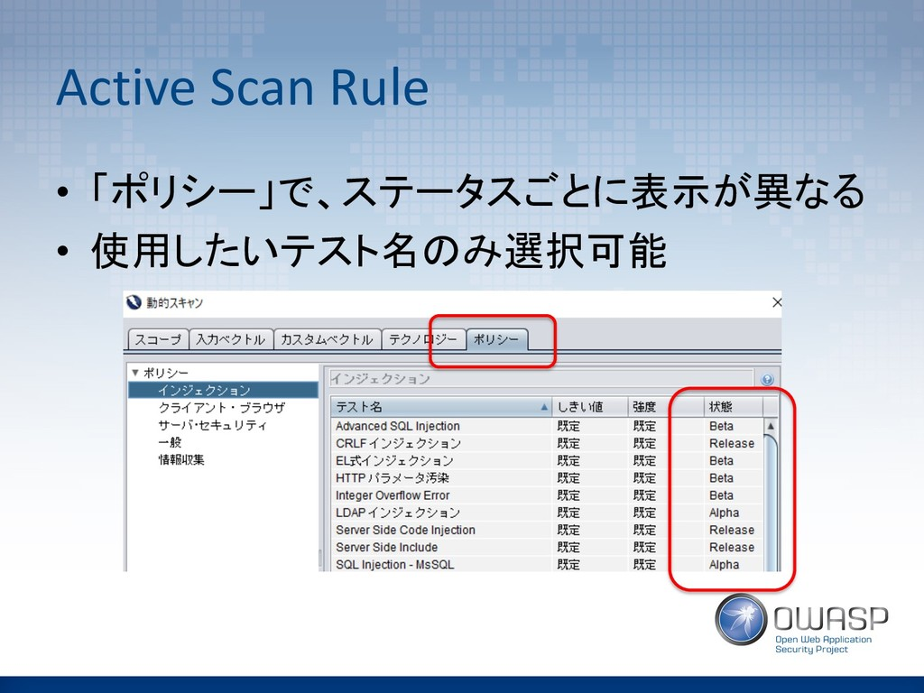 Active Scan Rule •  !!  • ...
