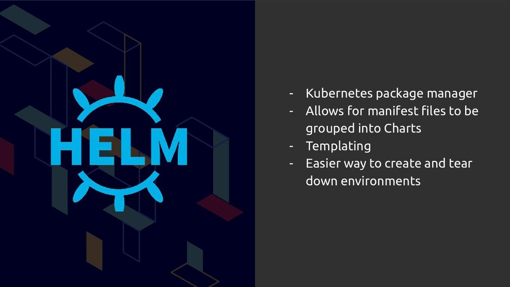 - Kubernetes package manager - Allows for manif...