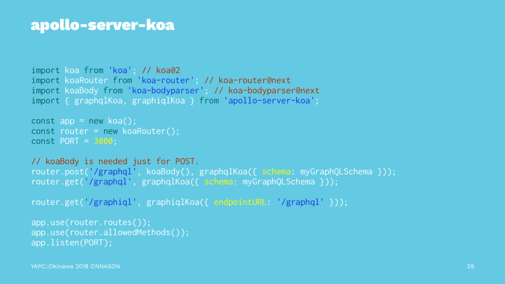 apollo-server-koa import koa from 'koa'; // koa...