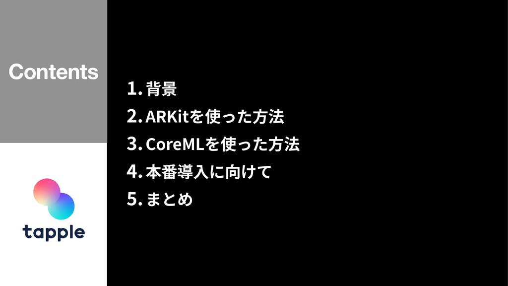 1 .背景   2 .ARKitを使った⽅法   3 .CoreMLを使った⽅法   4 .本...