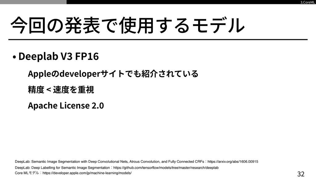 今回の発表で使⽤するモデル • Deeplab V 3 FP 16  Appleのdevelo...