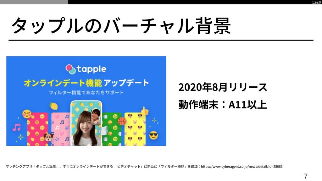 タップルのバーチャル背景 2020年8⽉リリース   動作端末:A 1 1 以上 7 マッチン...