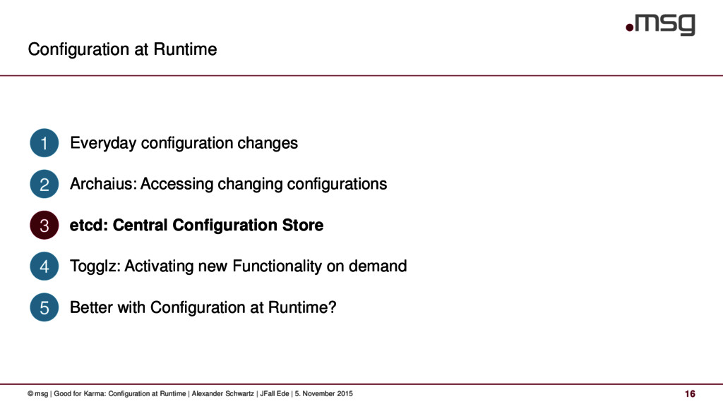 Configuration at Runtime 16 © msg | Good for Ka...