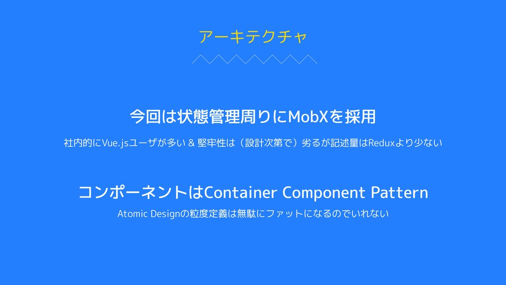 アーキテクチャ 今回は状態管理周りにMobXを採用 社内的にVue.jsユーザが多い & 堅牢...