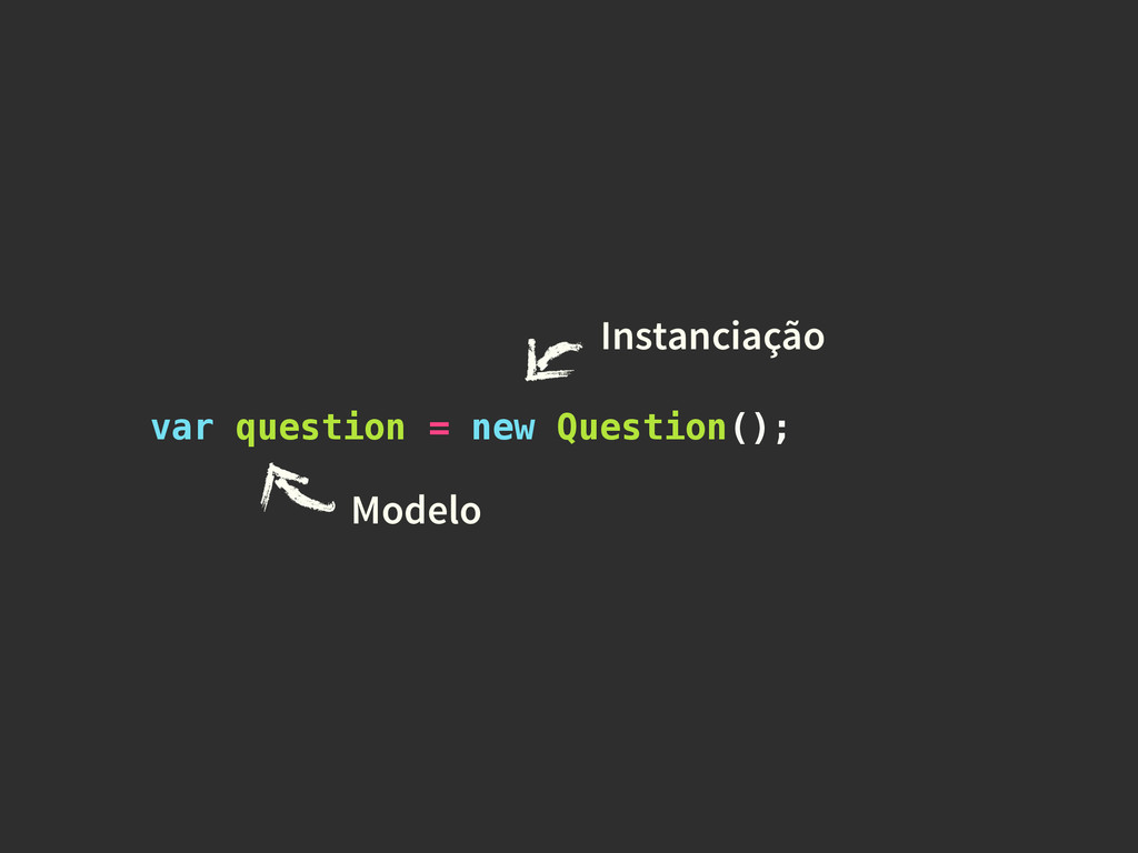 var question = new Question(); Instanciação Mod...