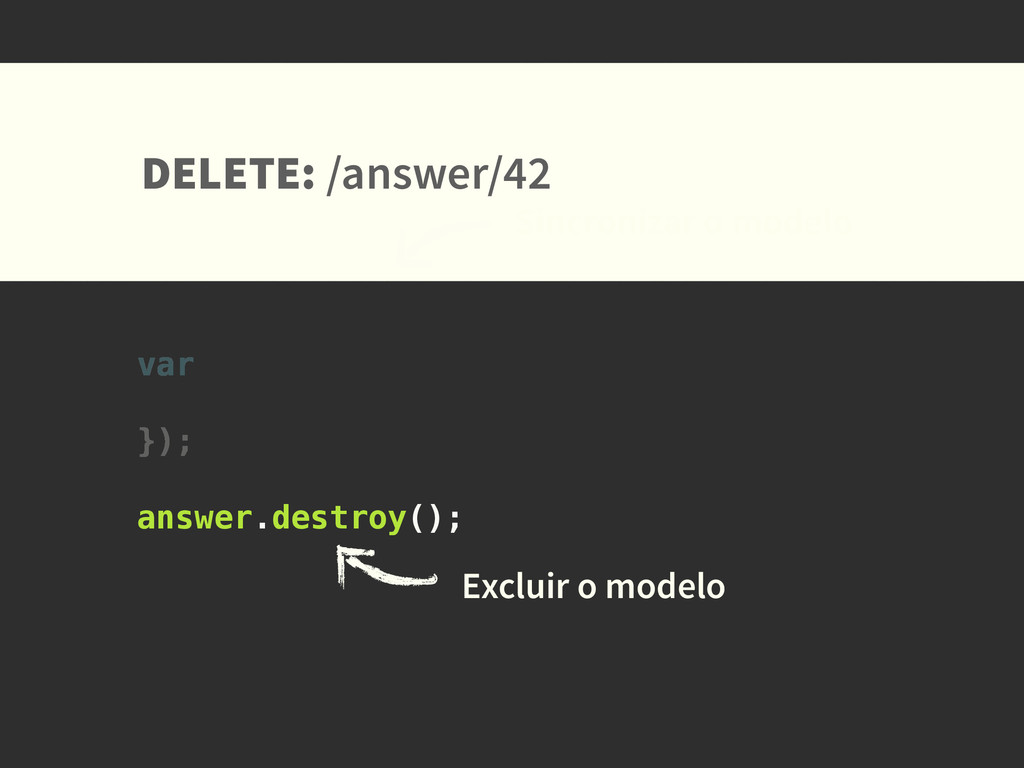 DELETE: /answer/42 Sincronizar o modelo Excluir...