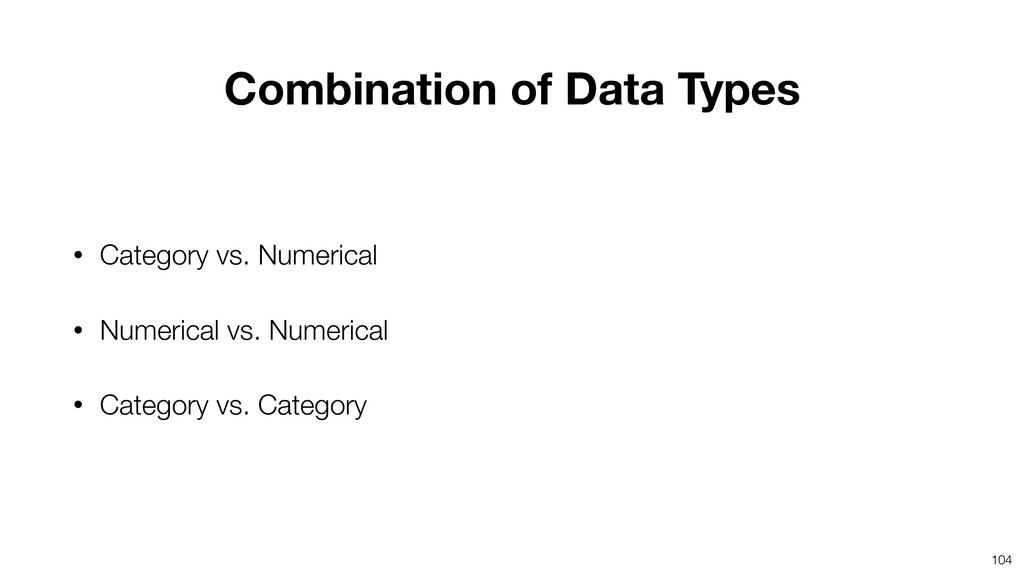 104 • Category vs. Numerical • Numerical vs. Nu...