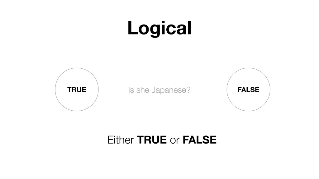 TRUE FALSE Is she Japanese? Either TRUE or FALS...