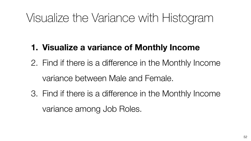 52 1. Visualize a variance of Monthly Income 2....