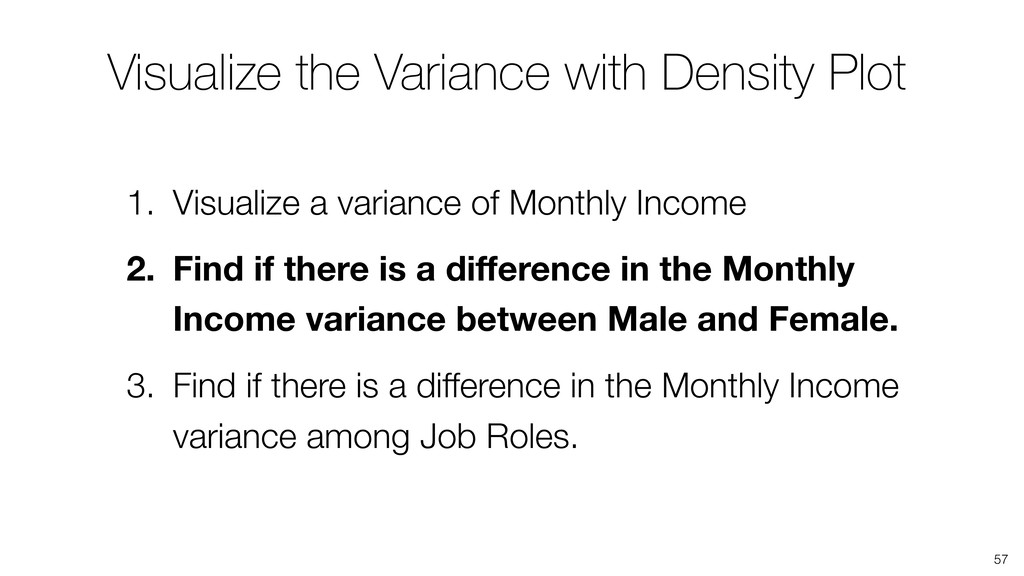 Visualize the Variance with Density Plot 57 1. ...