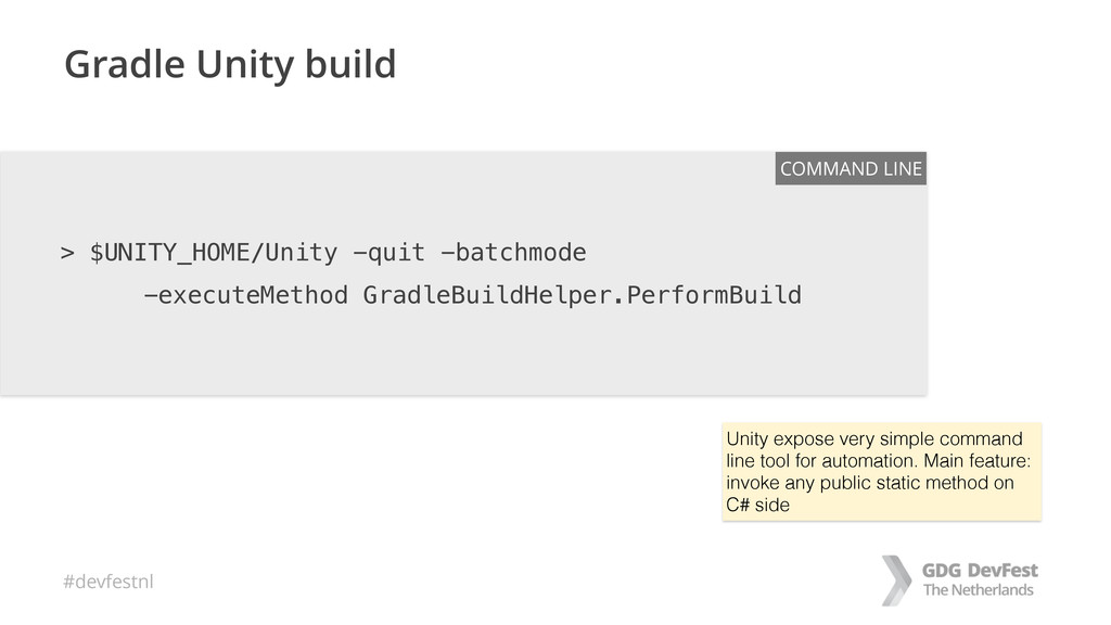 #devfestnl Gradle Unity build > $UNITY_HOME/Uni...