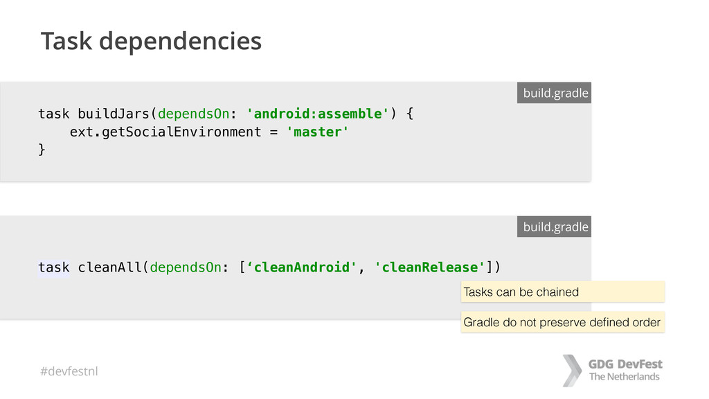 #devfestnl Task dependencies build.gradle task ...