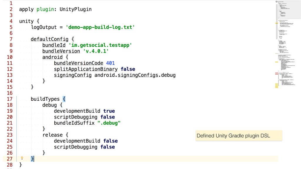 Defined Unity Gradle plugin DSL