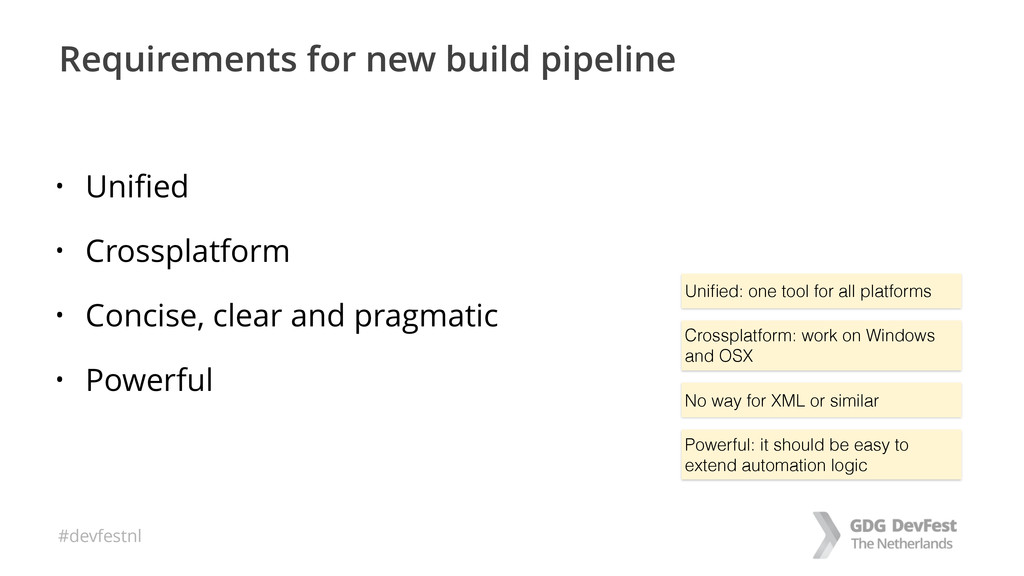 #devfestnl Requirements for new build pipeline ...