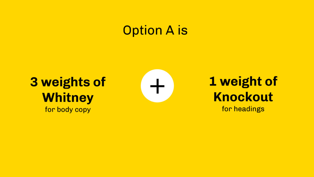 + Option A is 3 weights of Whitney  for body c...