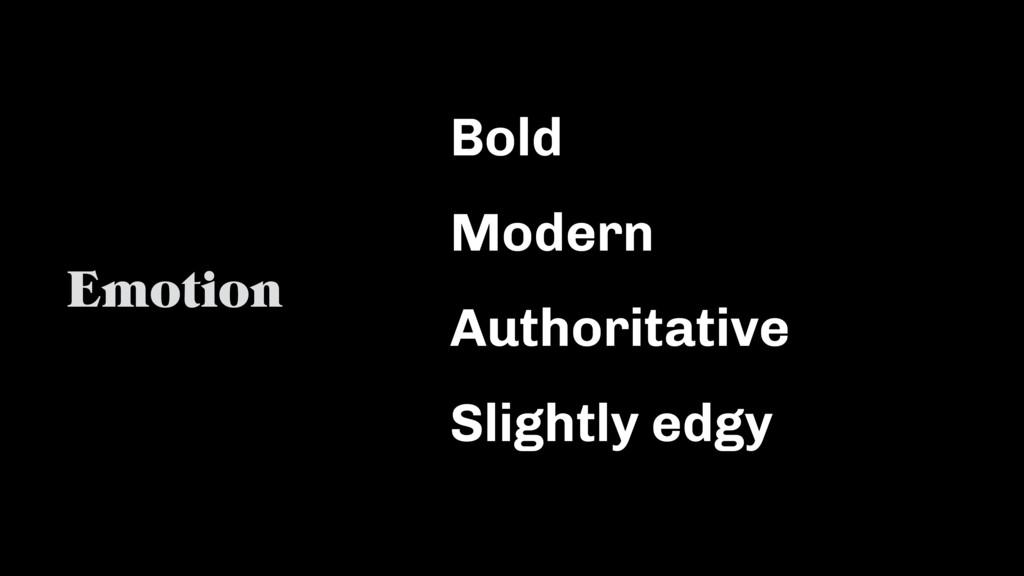 Bold Modern Authoritative Slightly edgy Emotion
