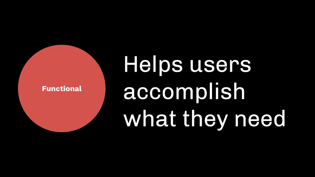 Functional Helps users accomplish what they need