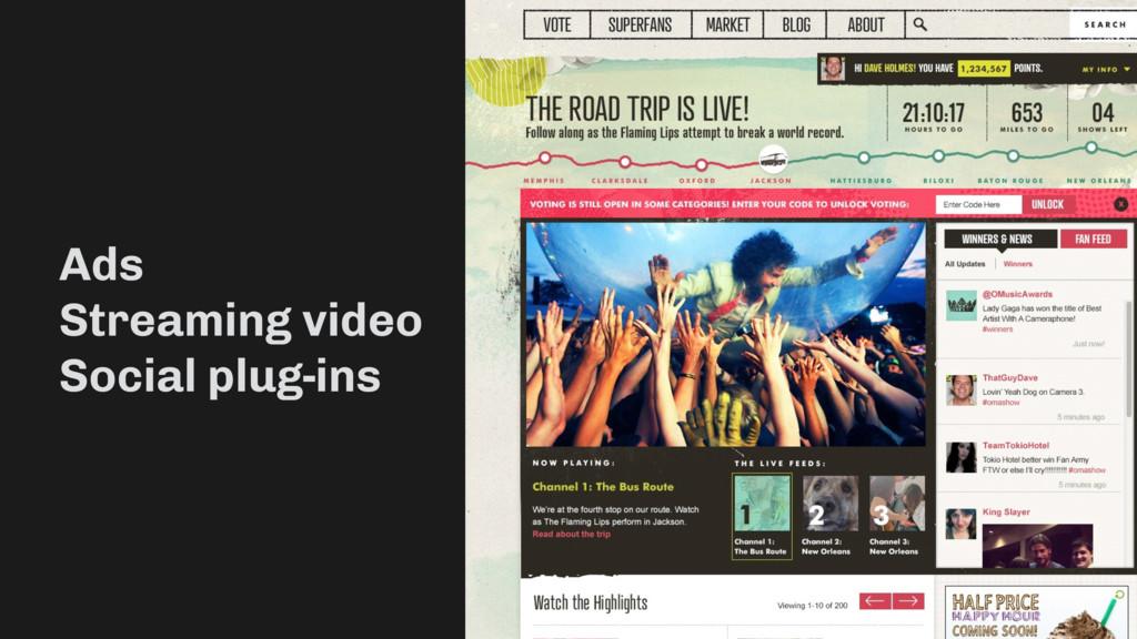 Ads Streaming video Social plug-ins